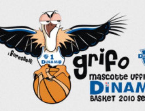 La Dinamo Sassari con la mascotte disegnata dai Forestelli