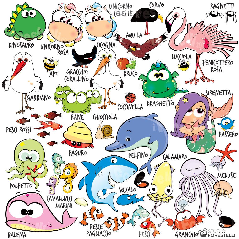 personaggi dei quadri per bambini forestele
