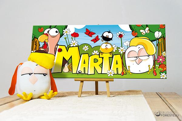 quadro per bambina col nome Marta