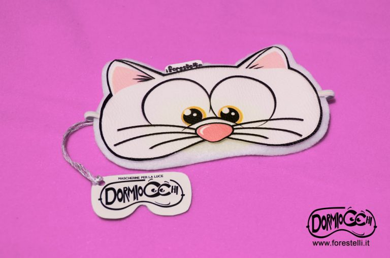 mascherina per dormire gatto bianco