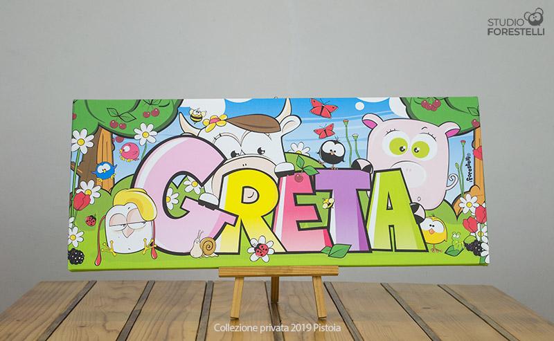 Quadro per bambini col nome Greta